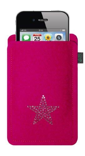 Feltro custodia per iphone 4/s ,3, magenta, con stella in cristalli swarovski®;