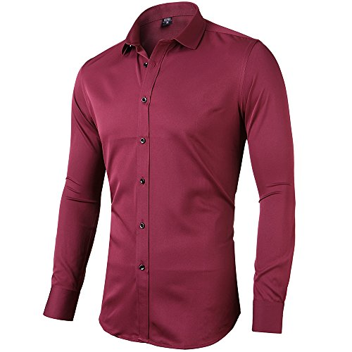 b8bc29051ceb94 INFLATION Mens Bamboo Shirt Slim Fit Long Sleeve Formal Shirt Casual Button  Down Dress Shirts for