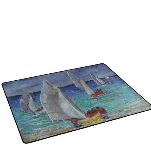 BENNIGIRY Anti-Rutsch-Teppiche, Teppich, Sailboat für die Heimdekoration mit Kunst-Mat Doormats für Wohnzimmer, Schlafzimmer, 36x 24cm, Polyester, Mehrfarbig, 72 x 48 inch - 24 Teppich Läufer 72