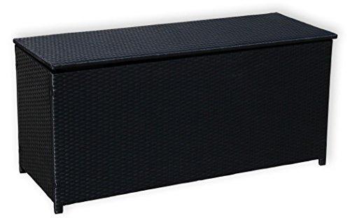 KMH Kissentruhe/Kissenbox Emma 130x50x61 cm aus schwarzem Polyrattan (4 String) (#106091)