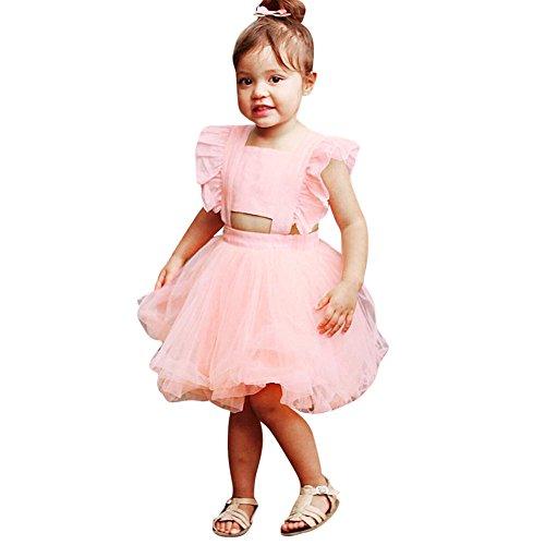 UFODB Baby Kleider Für Mädchen, Kids Prinzessin Festlich Backless Bowknot Mesh Riemen Falten Pailletten Schneeflocken Kostüm ärmellos Sommer Chiffon Hochzeitskleider