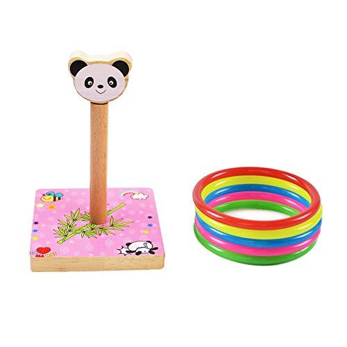 MansWill Ring Wurf Spiel Set für Kinder, Holz Eltern-Kind-Familie Spaß Loop Werfen Spielzeug für Kinder Erwachsene / Drinnen & Draußen Tier Quoits Spiele mit 5 Kunststoff Ringe - Panda -