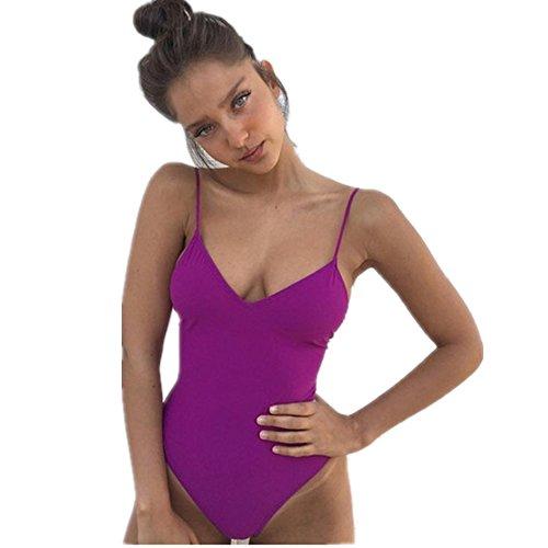 BIKIWAVE Costume da bagno sexy intero Costumi da bagno da donna Costume da bagno imbottito con taglio alto Indossato da spiaggia brasiliana Viola