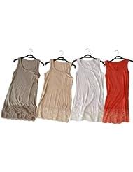 Damen Sommer Top Shirt mit Spitze am Saum, diverse Farben, Größen 38/40, 42/44, 46/48 und 50/52