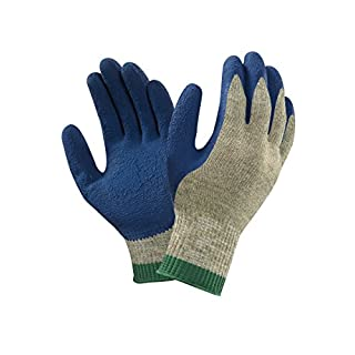 Ansell PGK10 BL Natural rubber latex gloves, mechanical protection, Blue, Size 9 (Pack of 12 pairs)