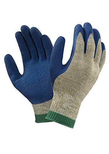 Ansell PGK10BL Gants en latex de caoutchouc naturel, protection mécanique, Bleu, Taille 11 (Sachet de 12 paires)