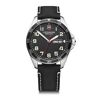 Victorinox FieldForce Cuarzo – Reloj (Reloj de pulsera, Masculino, Acero inoxidable, Acero inoxidable, Cuero, Negro)