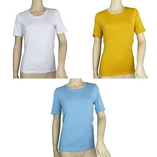 FA M ou s Store reine Baumwolle Stich Hals Top T-Shirt - Golden, 50 (Fa S/s T-shirt)