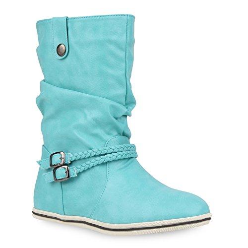 Damen Stiefeletten Schlupfstiefel Flach Stiefel Leder-Optik Metallic Boots Trendy Übergangs Schuhe 106482 Türkis 38 Flandell Metallic-leder-boot
