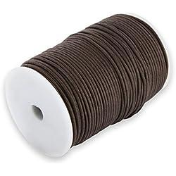 Auroris 100m Rollo Cinta de algodón, Redonda 2mm, Color marrón