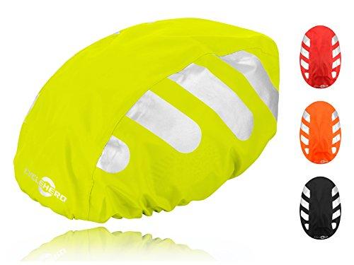 Wasserdichter Regenschutz für den Fahrradhelm (gelbes Cover) Unisex Regenüberzug für den Helm mit Gummizug und Reflektor-Elementen - wasserfester Überzug für alle Helme (Herren, Damen, Kinder)