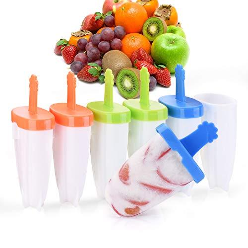 IKICH Eisformen [Neuste Modell] 6 Eisförmchen Popsicle Formen Set, Eisform Silikon, Stieleisformer LGFB Geprüft und BPA Frei, Mini Eisform für Kinder, Baby, Erwachsene Mini Kühlschrank