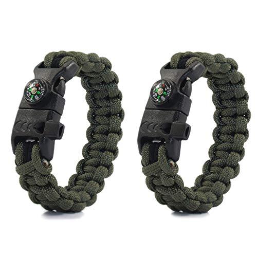 PSKOOK Paracord Survival Armband mit elastischen Schock Seil Kompass Whistle Feuerstarter Wildnis Taktische Notfall Ausrüstung Kit 2PCS (Armeegrün) (Eine Richtung-seil-armbänder)