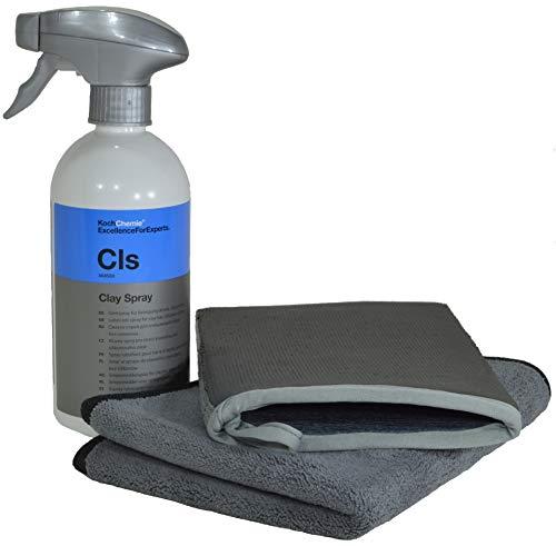 Lackreinigungs-Set - Liquid Elements Clay Mitt Knethandschuh + Koch Chemie Clay Spray 500ml + ADVANTUSE Mikrofasertuch 1 STK. Mitt-set