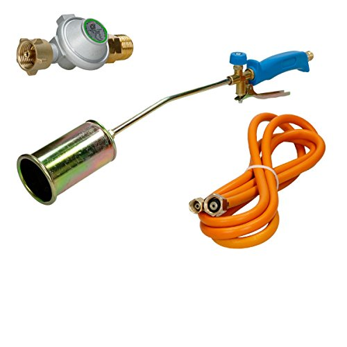 ECD Germany Gasbrenner Dachbrenner Gaslötgerät Abflammgerät Gas Brenner 2,5 bar Druckminderer Gasdruckregler Gasgrill und Gasschlauch 3m Schlauch