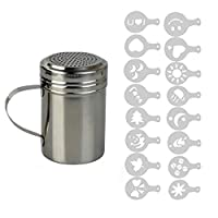 ADEPTNA High Quality Stainless Steel Chocolate Shaker with Handle and 16 Cappuccino Coffee Barista Stencils
