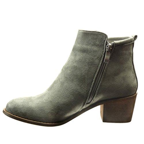 Angkorly - damen Schuhe Stiefeletten - Reitstiefel - Kavalier - Fertig Steppnähte - flashy Blockabsatz high heel 5.5 CM Grau