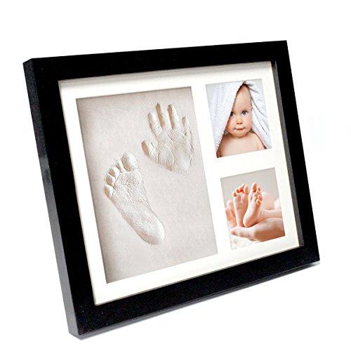 Bilderrahmen Baby für Fußabdruck und Handabdruck| Geschenk-Set zur Geburt Taufe Geburtstag Babyparty| schwarzer Rahmen| 2 Fotos Footprint schwarz| Fotorahmen| Abdruck| Kinder Babybilderrahmen