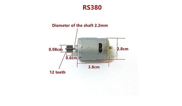 Taglia : 380 6V 13000RPM 12T NO LOGO WJN-Motor 1pc RS 380 390 500 Bambini macchinina elettrica Auto Moto 6V 12V Motore Engine