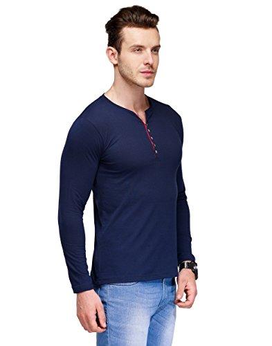 TSX Men's Cotton Henley T-Shirt, Blue, Medium