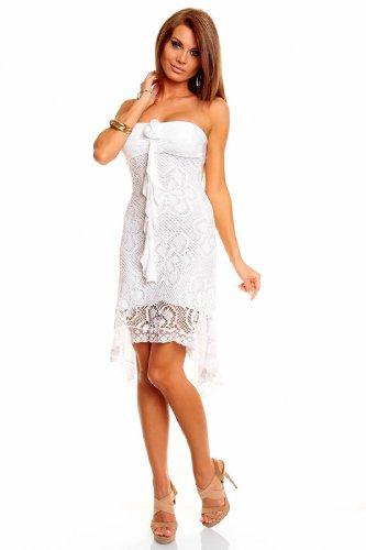 Mini robe courte bandeau dentelle crocheté robe de mariage Blanc - blanc
