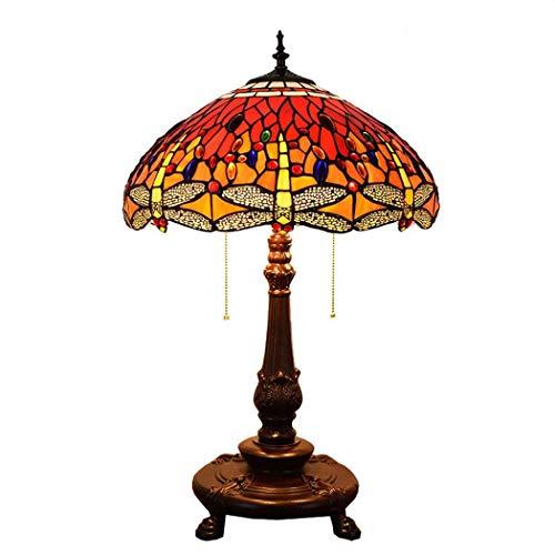 Light-YRQ 18-Zoll-Tiffany-Stil Tischlampe, rotes Glas und Juwelen Libelle Design Schreibtischleuchte mit weinrotem Sockel für Wohnzimmer Schlafzimmer Nachttisch E27