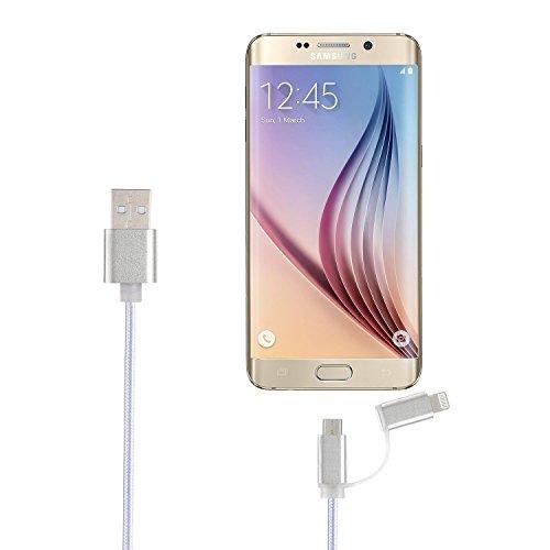 Upow 2 in 1 Cavo Ricarica Lightning&Micro USB sia per Cellulare Tablet di IOS che per Dispositivi di Android(4 Pezzi Colore Argento) Argento