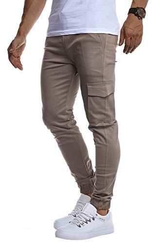 Leif Nelson Herren Jogger Chinos Cargo Stretch Jogging Männer Basic Jogg Cargohose Streifen Jogginghose Jungen Freizeithose Jeans-Hosen Sweatpants Streifen Chinohosen LN8071 Grau Large