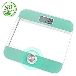 Aigostar Mermaid Digital Weighing Scales 33LDH - Body Weight Bathroom Scales,Environmentally Friendly Battery-Free U-Power Technology to Turn on,Large LCD Display,Tempered Glass.