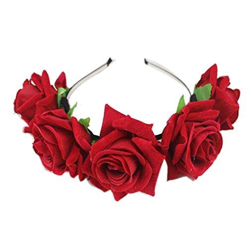 1 Pcs Rose Floral Flower Garland Crown Headband Hair Band Bridal Festival  Clip Red 0e2f019f81b8