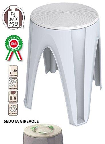 Sgabello sedia girotondo girevole in dura resina di plastica bianco per bagno casa poggiapiedi pouf