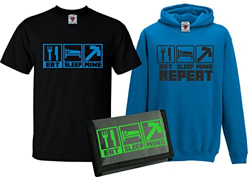 r Eat Sleep Mine T-Shirt & Kapuzenpullover with Free Wallet Pack (Mehrfarbig, Groß) ()
