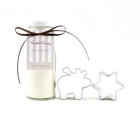 Geschenkset mit Plätzchen Ausstecher, Backmischung für Butterplätzchen im Glas mit Plätzchen Ausstechform als Stern und Elch, ideal als Geschenk zu Weihnachten, Nikolaus, Wichtel (Ausstecher Weihnachten Geschenk)