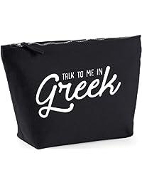 Hippowarehouse Talk to me in Greek printed make up cosmetic wash bag 18x19x9cm