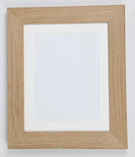 Tailored Frames Echt Eiche Natur Massiv Holz Bilderrahmen und Poster Rahmen, (35,6x 27,9cm) für (30x 24cm) mit Antik weißem Passepartout -