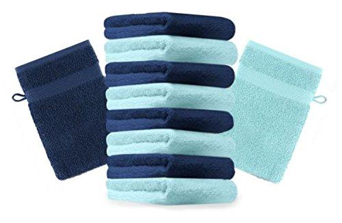 Betz Lot de 10 gants de toilette taille 16x21 cm 100% coton Premium couleur bleu foncé, turquoise