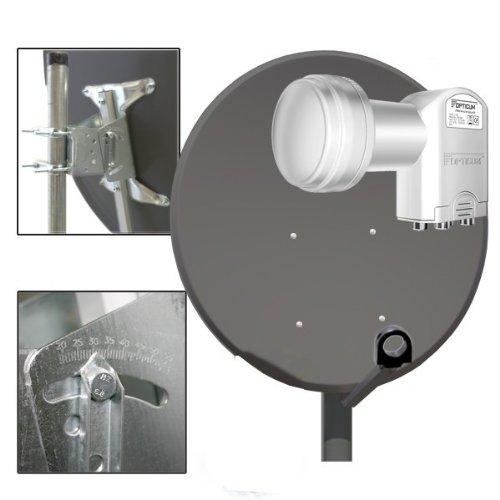 PremiumX 100cm Sat Antenne Schüssel Spiegel in Anthrazit Stahl inkl. Opticum Quad 0,1dB LNB FULLHD SCHÜSSEL 3D HDTV