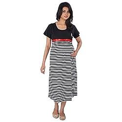 Momtobe Black & White Stripes Maternity Dress (Size : XX-Large)