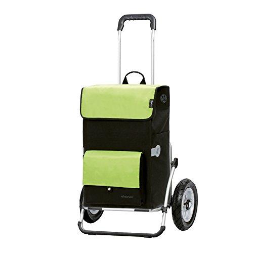 Andersen Einkaufstrolley Royal XXL mit luftbereiftem Kugellagerrad 25 cm und 45 Liter Einkaufstasche Asta schwarz/grün mit Kühlfach, Aluminium-Gestell klappbar