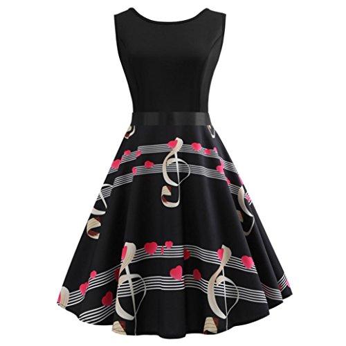 Neun Vintage Kleid, Yesmile 1950er Jahre Kleider Damen Schwarz Kappen Hülse Retro Vintage Sommerkleid Sexy Party Elegante Kleider KleidRundhals Abendkleid Prom Swing Kleid (M, Schwarz-3)