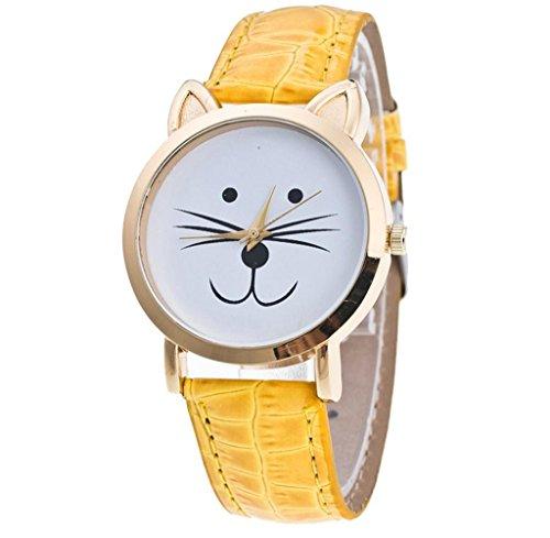 Tongshi Gato cara patrón cuero banda cuarzo analógico moda reloj de pulsera (Amarillo)