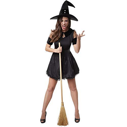 Magierin Frau Kostüm - dressforfun 900512 - Damenkostüm Schwarze Hexe, Kurzkleid mit dreilagigem Rock inkl. Gürtel und Hexenhut (M | Nr. 302423)