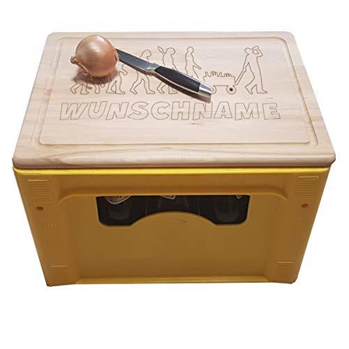 onlinegorillas Bierkastensitz und Schneidebrett aus Holz mit verschiedenen Motiven, mit eigener Gravur, personalisierte Geschenkidee (Bierevolution) - Personalisierte Holz-messer