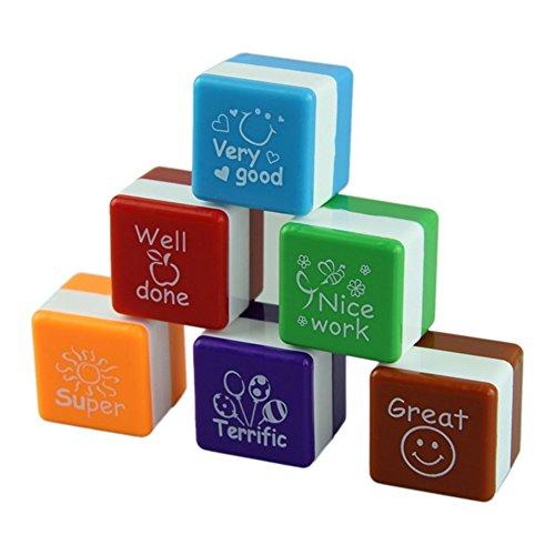 zantec 6pcs selbstfärbende Lehrer Briefmarken Schule Student Hausaufgaben Comment Seal Rating Lob Geschenk