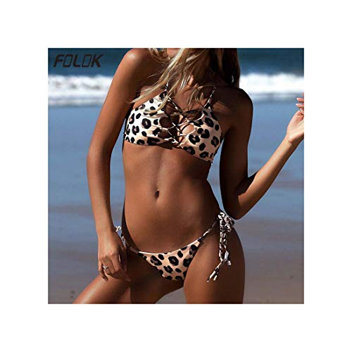 Brown Spaghetti Strap (MLULPQ& Loepard Bikini Set Spaghetti Strap Swimwear Halter Brazilian Tanga Push Up Swimsuit Women Sexy G-String Beach Bathing Suits Brown S)