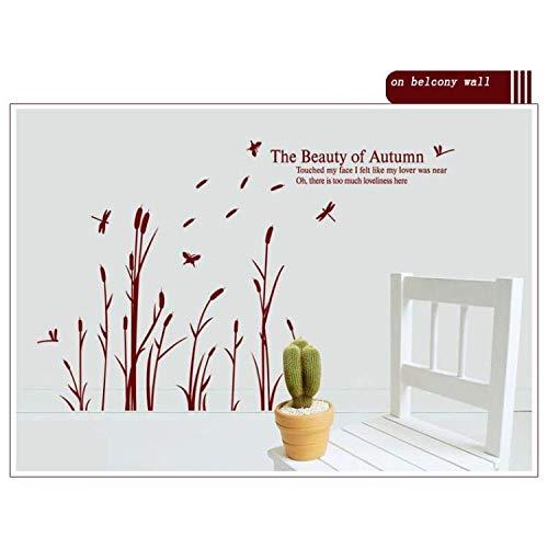 ylckady Neue PVC Reed Blumen Die Schönheit des Herbstes Wandaufkleber Home House Windows Abnehmbare Wandtattoo Aufkleber DIY 112 * 170 cm