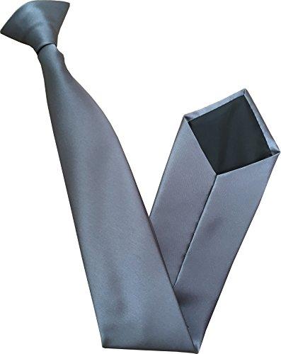 100% Satin Cravate à Clipser - Différentes Couleurs (Gris Ardoise)