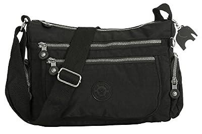 Big Handbag Shop Womens Fabric Zip Pockets Lightweight Shoulder Cross Body Messenger Bag - Small/Medium
