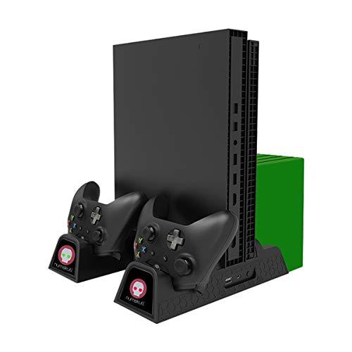 Ladestation für Xbox One, vertikale Ladestation (All-in-One), Controller-Ladestation, Lüfter, Spielehalter und USB-Hub