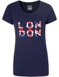 Mountain Warehouse Womens London Tee - 100% Cotton Tshirt, Lightweight, Breathable Summer Top, Fast Dry, Quality Print, UPF50+ Tee Shirt -for Travelling, Walking, Running
